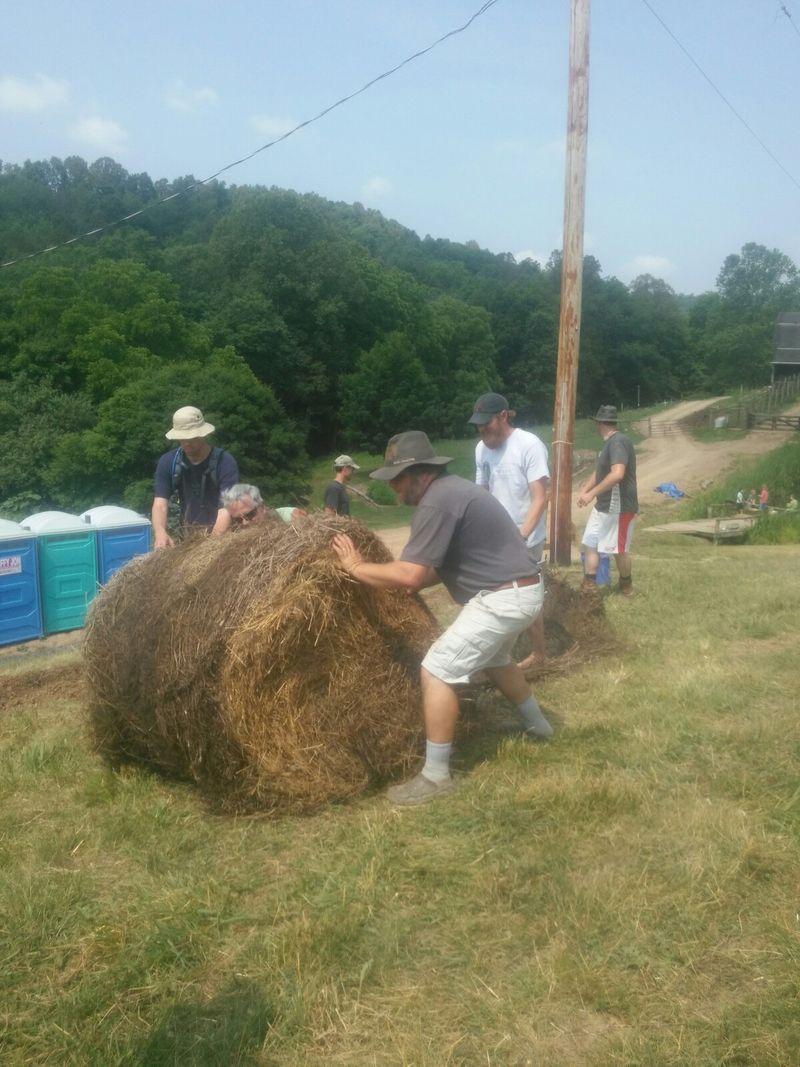 Elisha spring rolling out mulch